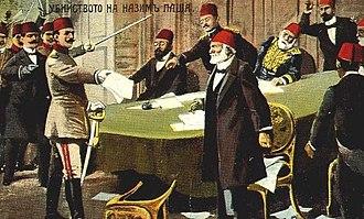 Kâmil Pasha - Enver Bey asking Kamil Pasha to resign during the raid on the Sublime Porte.