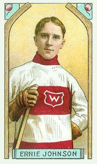 Moose Johnson - Johnson with the Montreal Wanderers on a 1911 Imperial Tobacco hockey card.