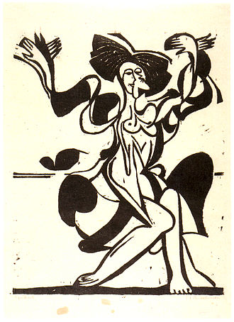Mary Wigman - Portrait of Mary Wigman dancing by Ernst Ludwig Kirchner
