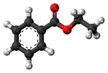 Ball-and-stick model of the ethyl benzoate molecule