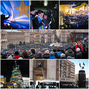 Euromaidan - Clockwise from top left: A large EU flag is waved across Maidan on 27 November 2013, opposition activist and popular singer Ruslana addresses the crowds on Maidan on 29 November 2013, Pro EU rally on Maidan, Euromaidan on European Square on 1 December, tree decorated with flags and posters, crowds direct hose at militsiya, plinth of the toppled Lenin statue