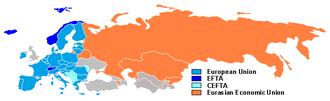 European integration - Economic integration blocs in Europe;EU, EFTA, CEFTA and Customs Union of Belarus, Kazakhstan and Russia