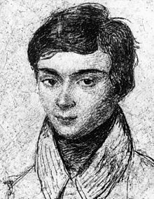 Hand-drawn portrait of mathematician Évariste Galois, at the age of around 18 years old.