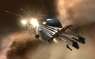Eve Online - An artist's rendering of Rifter-class frigates after a successful attack against an Armageddon-class battleship