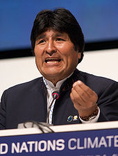 Bolivian President Evo Morales speaking outdoors