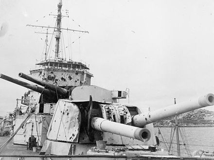 Damage received by Exeter during the Battle of the River Plate Exeter'sDamage1939.jpg