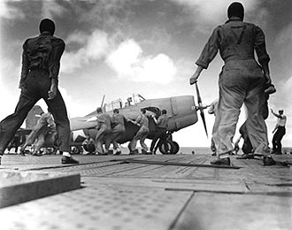 Battle of the Santa Cruz Islands - Enterprise conducts air operations in the South Pacific on 24 October 1942. Aircraft is a Grumman F4F Wildcat.