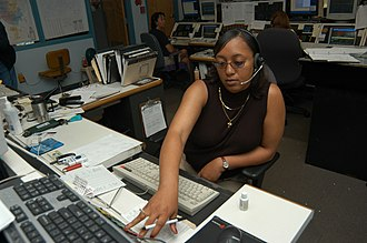 9-1-1 - A dispatcher takes an emergency call at the Jackson, Tennessee 9-1-1 Dispatch Center.
