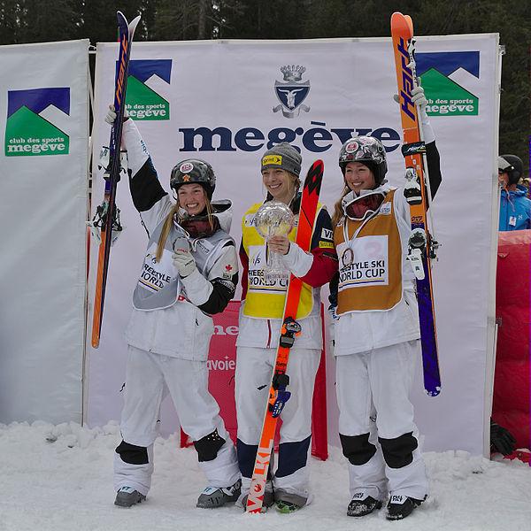 File:FIS Moguls World Cup 2015 Finals - Megève - 20150315 - Justine Dufour-Lapointe, Hannah Kearney et Chloé Dufour-Lapointe 5.jpg