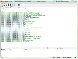A FTP Session in FileZilla Server