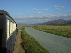 Fairbourne Railway - Train between Loop Halt and Estuary Halt.