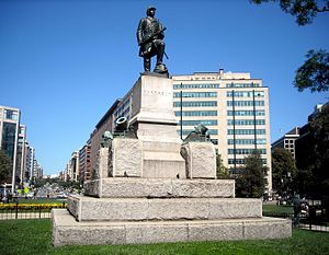 Admiral David G. Farragut (Ream statue) - The Farragut monument with Connecticut Avenue in the background.