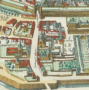 Couvent des Feuillants - Detail from the plan de Mérian (1615) showing the convent site, whose cloister was still under construction and whose church still lacked a façade.