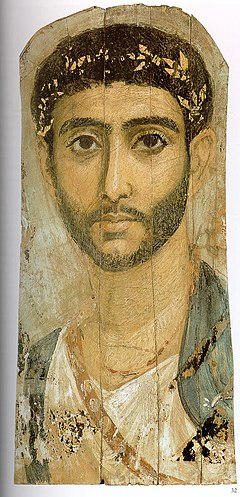 The Fayum mummy portraits epitomize the meeting of Egyptian and Roman cultures. Fayum-22.jpg