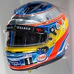Fernando Alonso 2016 Singapore helmet front-left 2017 Museo Fernando Alonso.jpg