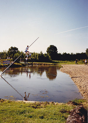 Pole vault - Traditional fierljeppen in the Netherlands, using poles to clear distances over rivers