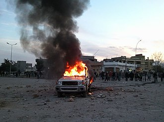 First Battle of Benghazi - Image: First demonstrations calling for toppling the regime in Libya (Bayda, Libya, 2011 02 16)