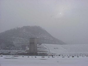 Fishtrap Lake - Fishtrap Lake and dam during a winter storm