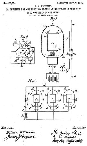 Fleming valve - Fleming valve schematic from US Patent 803,684.