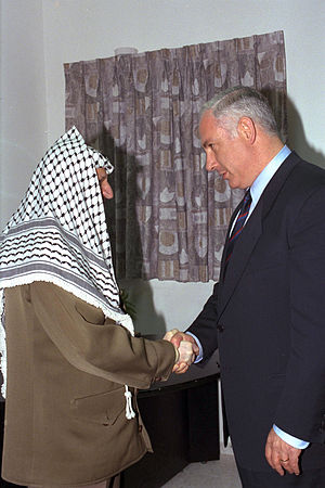 Benjamin Netanyahu - Netanyahu met with Palestinian President Yasser Arafat at the Erez crossing, 4 September 1996