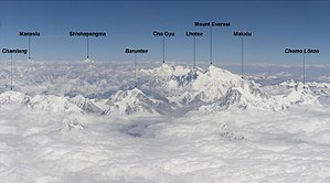 Eight-thousander - Flight over Khumbu-region; six eight-thousanders and some seven-thousanders (three identified) are visible