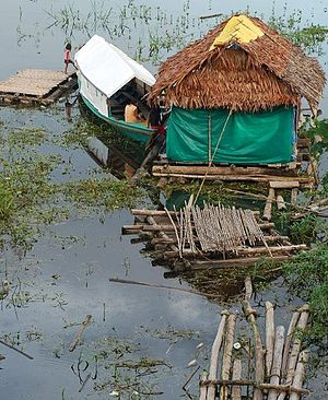 Houseboat - Floating house on the Amazon, Iquitos, Peru