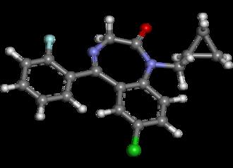 Flutoprazepam - Image: Flutoprazepam ball and stick