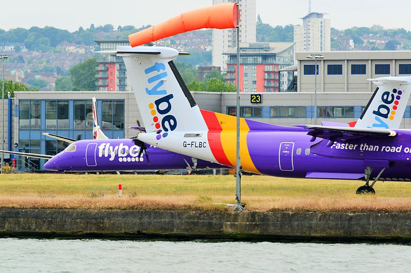File:Flybe Dash 8s at London City Airport.jpg