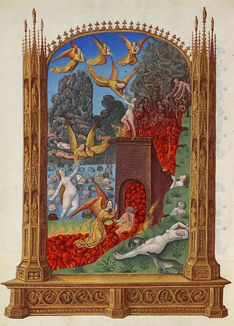 History of Purgatory - Image of a fiery purgatory in the Très Riches Heures du Duc de Berry