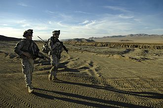 Fort Irwin National Training Center - Troops from the 3rd Infantry patrol the California desert during a training mission.