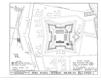 Fort Wayne (Detroit) - Original layout of Fort Wayne