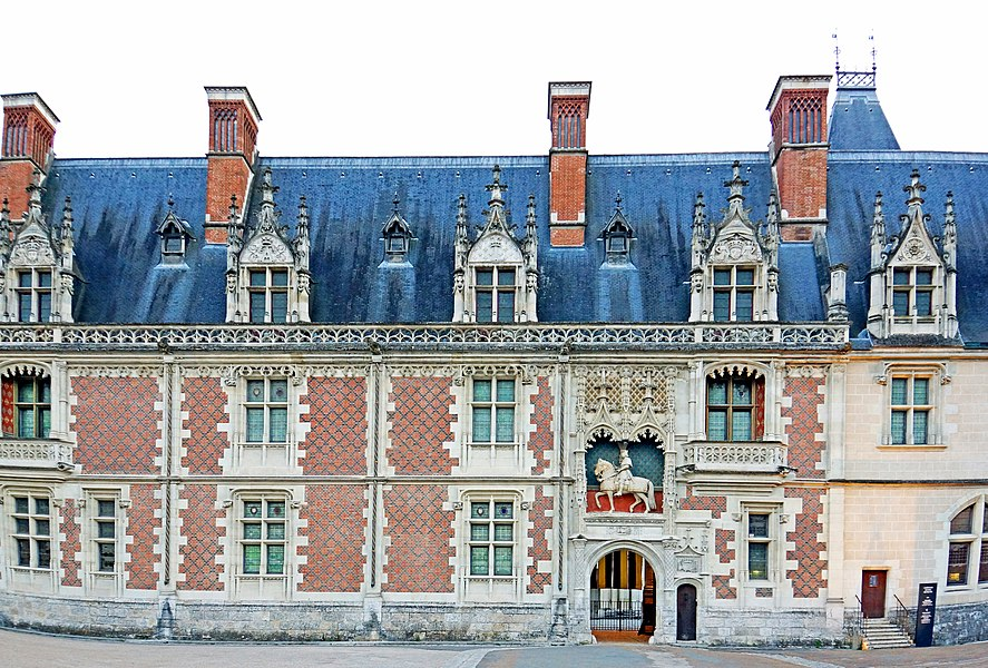 PLEASE, NO invitations or self promotions, THEY WILL BE DELETED. My photos are FREE to use, just give me credit and it would be nice if you let me know, thanks.  This wing, of red brick and grey stone, forms the main entrance to the château, and features a statue of the mounted king, Louis XII, above the entrance.   Château de Blois was the residence of several French kings, it is also the place where Joan of Arc went in 1429 to be blessed by the Archbishop of Reims before departing with her army to drive the English from Orléans. It has 564 rooms and 75 staircases although only 23 were used frequently. There is a fireplace in each room and 100 bedrooms.