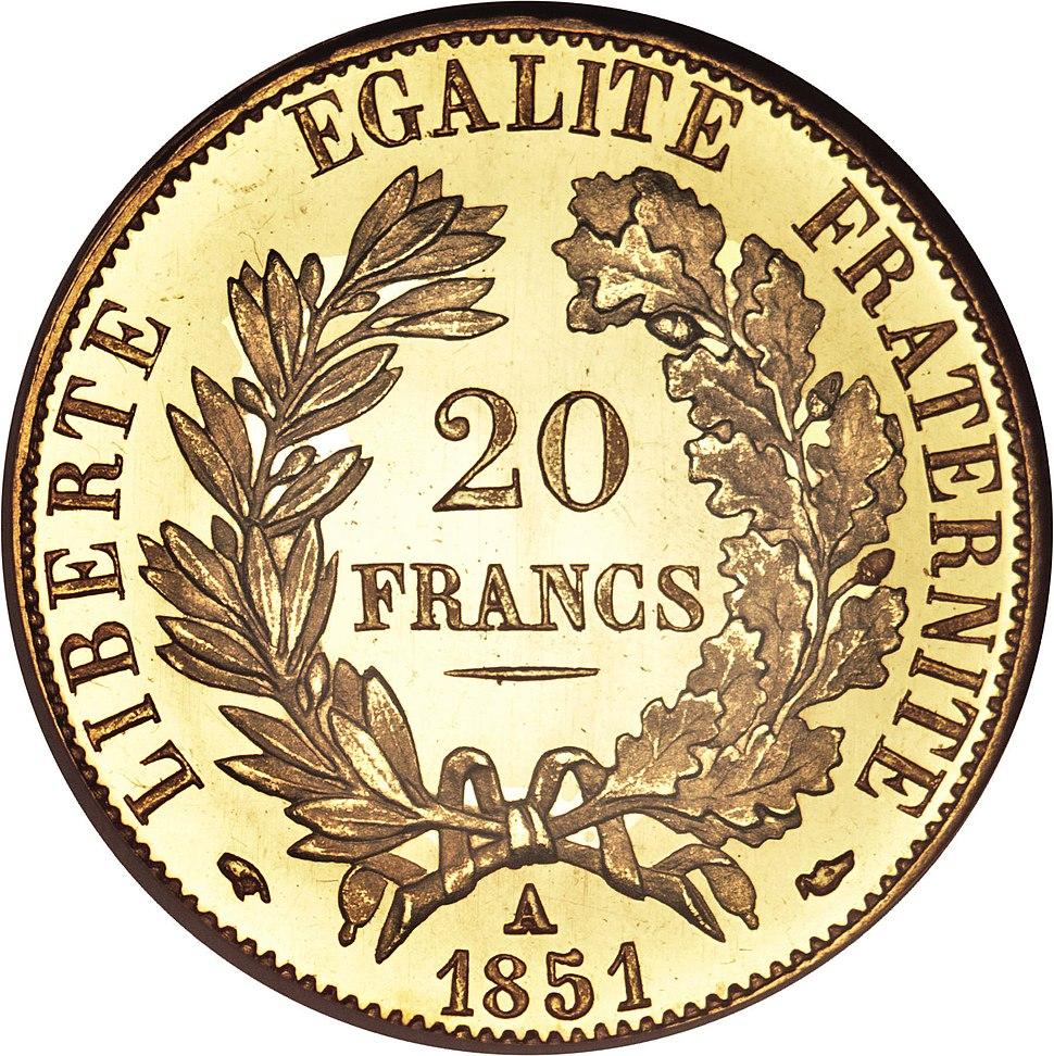France 20 francs 1851