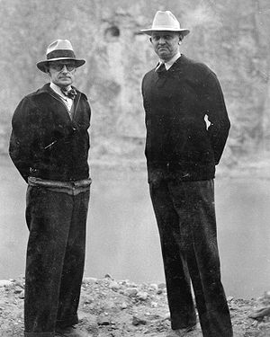 Hoover Dam - General Superintendent Frank Crowe (right) with Bureau of Reclamation engineer Walker Young in 1935