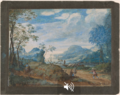 Frans Boels - Wooded River Landscape with Travellers by a Wayside Cross.tiff