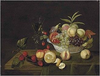 Frans Ykens - Fruit in a Wan-Li porcelain bowl
