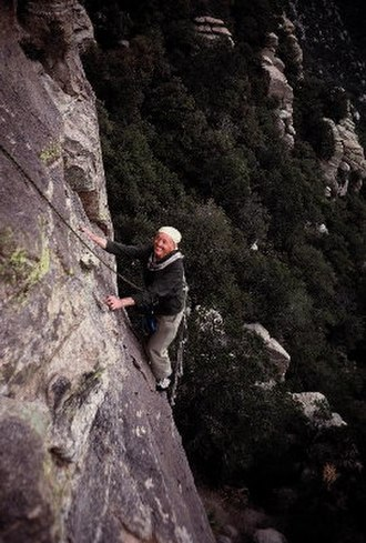Fritz Wiessner - Fritz Wiessner, age 81, Mt Lemmon, 1981, climbing on the Rupley Towers
