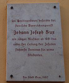 Tafel zur Erinnerung an den jungen Musiker Fux in Graz, Färbergasse 11 (Quelle: Wikimedia)