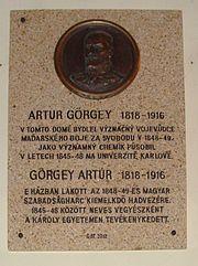 Görgey Artúr emléktábla Prága
