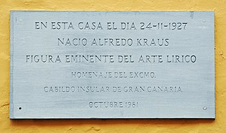 Alfredo Kraus - Memorial tablet on the birthplace of Alfredo Kraus in the Calle de Colón in Las Palmas, Gran Canaria