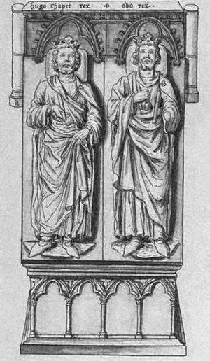 François Roger de Gaignières - François Roger de Gagnieres drawing of the tombs of Eudes and Hugues Capet at Saint-Denis Abbey.