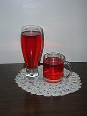Garcinia indica red drink prepared from dried rinds.jpg