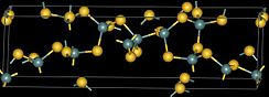 Ball and stick model of crystaline germanium sulfide.