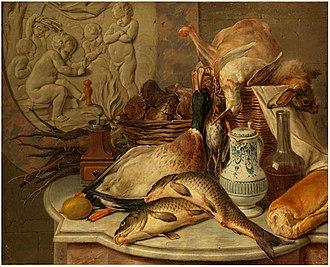 Gerard Rijsbrack - Still life with game and fish
