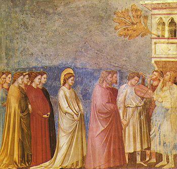 Giotto di Bondone, La Procession de mariage de la Vierge