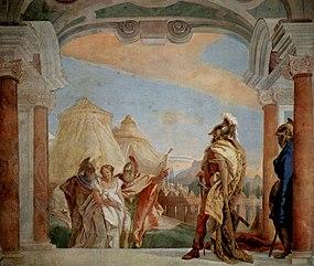 «Η Βρισηίς οδηγείται στον Αγαμέμνονα από τους Ταλθύβιο και Ευρυβάτη.» Τοιχογραφία του Τιέπολο στη Villa Valmarana της Βιτσέντζα (1757).