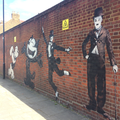 Graffiti - Popeye, Felix the Cat, Fred Astaire, Charlie Chaplin - Turnpike Lane, London.png