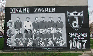 1966–67 Inter-Cities Fairs Cup - Graffiti in Zagreb commemorating the Dinamo Zagreb 1966–67 Inter-Cities Fairs Cup winning generation.
