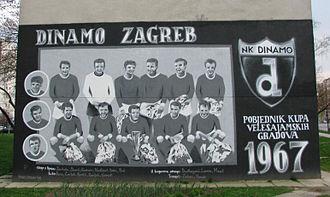 1966–67 Inter-Cities Fairs Cup - Graffiti in Zagreb commemorating the Dinamo Zagreb 1966–67 Inter-Cities Fairs Cup winning generation.