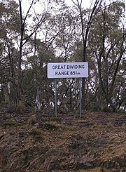 Great Dividing Range sign on the Kings Highway between Braidwood and Bungendore, New South Wales